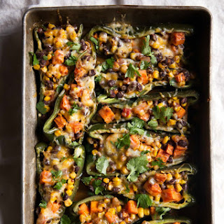 Stuffed Poblano Peppers with Black Bean, Corn & Sweet Potato.