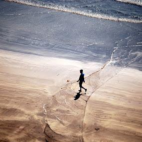 I Walk Alone by Aparajita Saha - People Street & Candids ( waves, fishing net, lone, beach, man, top angle )