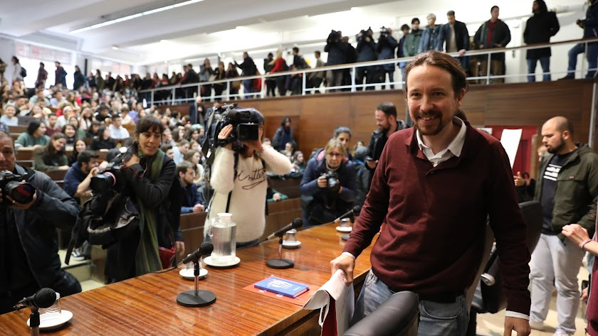 el líder de Podemos, Pablo Iglesias, en la Complutense