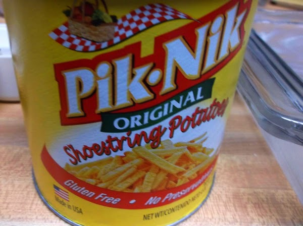 Sprinkle with 1/3 cup potato sticks.