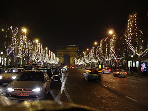 Photo: Next, an evening stroll on the well-lit Champs Elysees, here facing L'Arc de Triomphe.