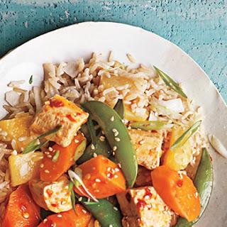 Sassy Sesame Tofu with Sweet Potato, Carrots, and Sugar Snap Peas