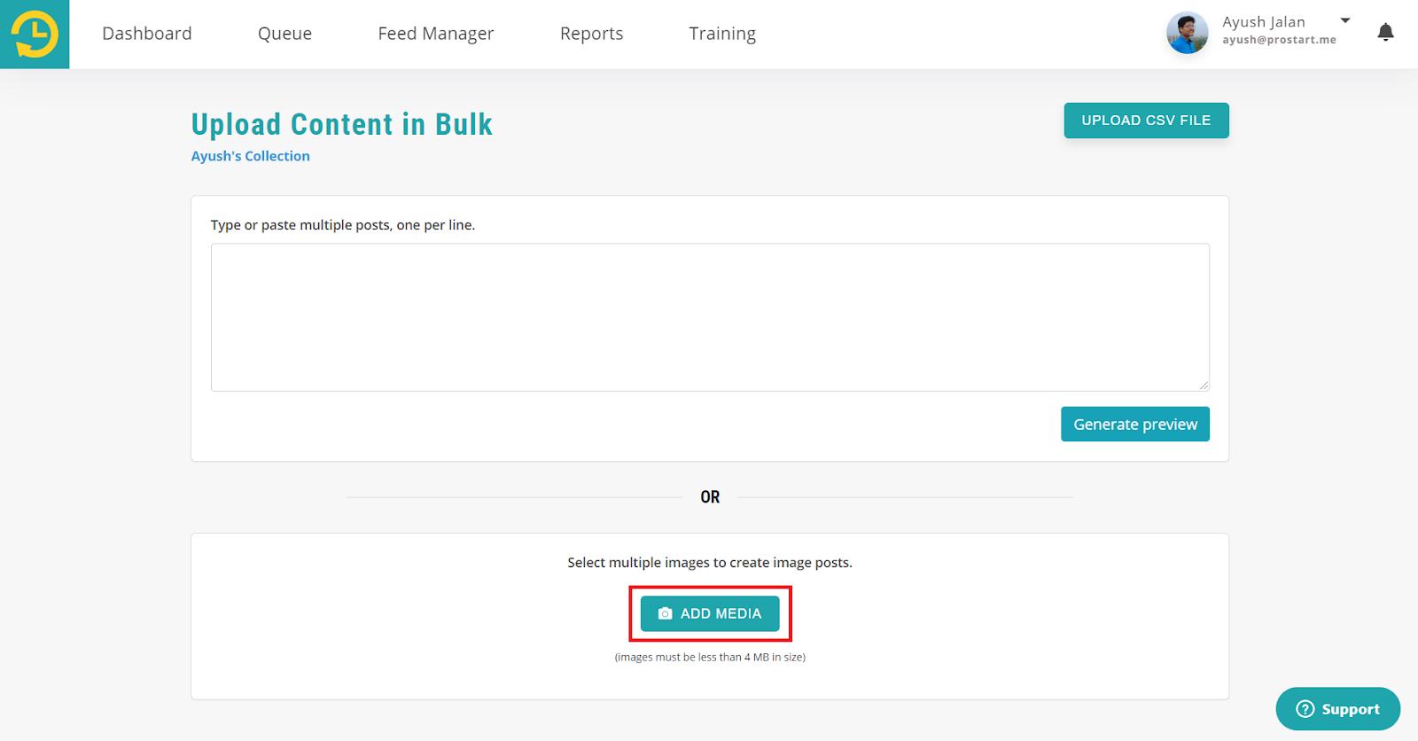 For Image bulk Posts - recurpost - social media scheduler