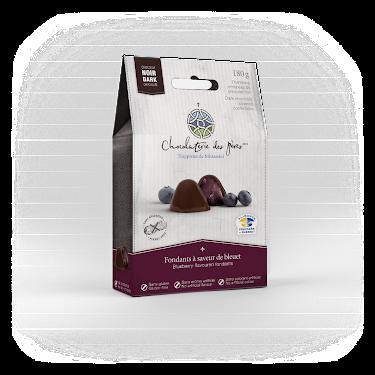 Chocolat Fondants à saveur de bleuet enrobés de chocolat noir Boîtes maison