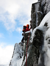 """Photo: Negotiating the crux, and ultimately going the wrong way, on """"Raeburn's Route"""", IV, on Stob Coire Nan Lochan."""