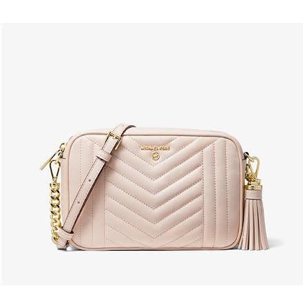 Jet Set Charm: Medium Camera Bag, soft pink quilted