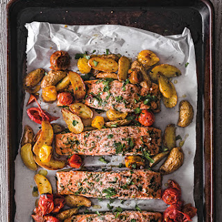 Salmon Provençal with Fingerling Potatoes and Cherry Tomatoes.