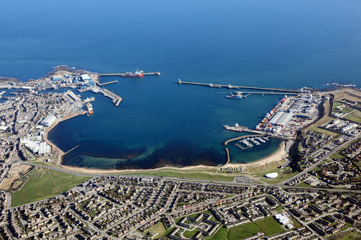 Aerial of the port of Peterhead in northeast Scotland.