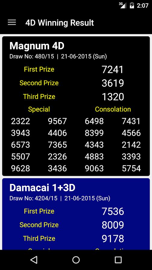 4D Winning Result - screenshot