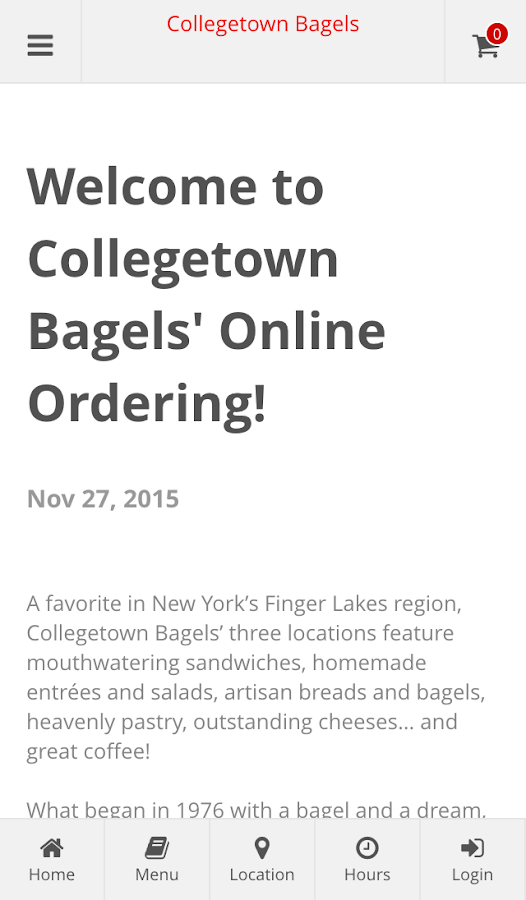 Collegetown Bagels- screenshot