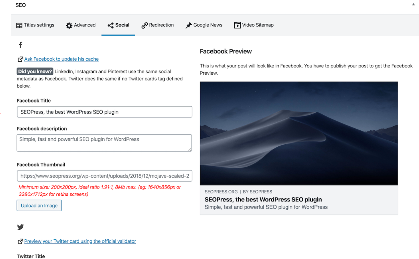 SEO Press provides Open Graph and Twitter Cards to enhance social media sharing on Facebook, Twitter, Instagram and other social channels, making it one of the best SEO plugins for WordPress.