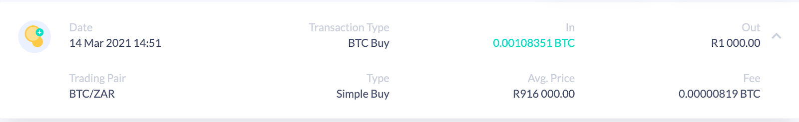Screenshot of BTC purchase order from Valr.
