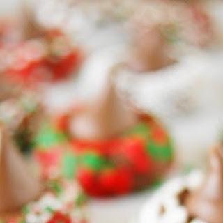 Christmas Chocolate Kiss Cookies.