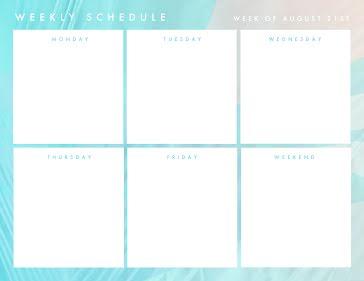 Week Schedule - Weekly Planner template