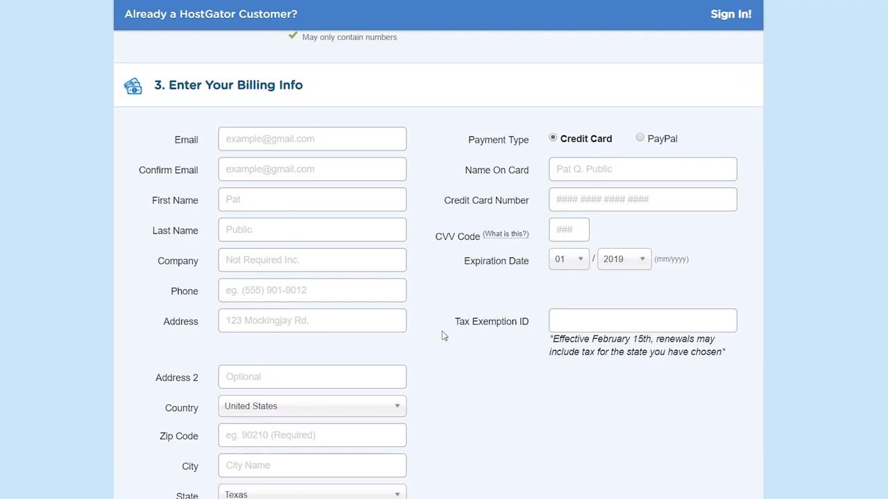 wordpress basics hosting billing info