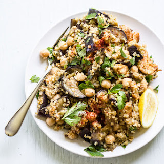 Spiced Eggplant, Chicken + Chickpea Salad