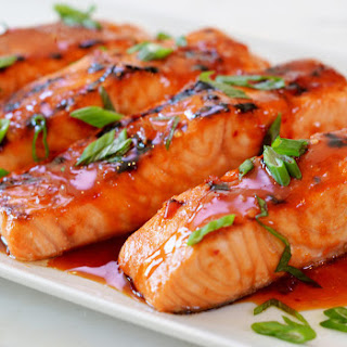 Broiled Salmon with Thai Sweet Chili Glaze.