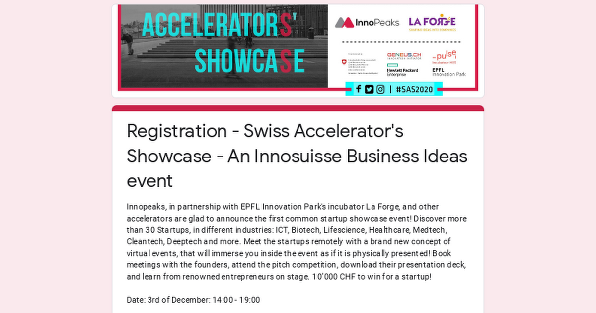Registration - Swiss Accelerator's Showcase