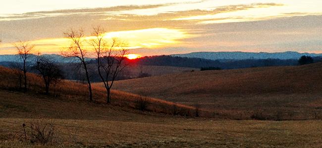 Sun Sets Over North Carolina's Blue Ridge Mountains