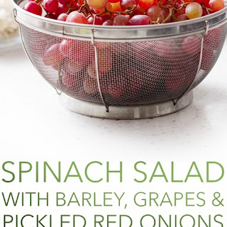 Spinach Salad with Barley, Grapes and Pickled Red Onions
