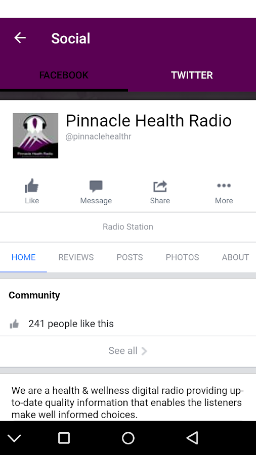 Pinnacle Health Radio App- screenshot