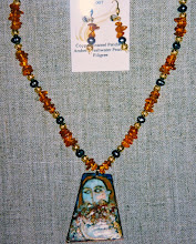 Photo: Copper enamel pendant, amber, freshwater pearls, gold vermeil  SOLD/ПРОДАНИЙ