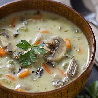 Creamy Wild Rice & Mushroom Soup.