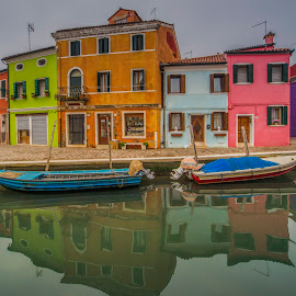Burano,Italy by Yordan Mihov - City,  Street & Park  Neighborhoods ( water, venezia, reflection, village, colorful, street, buildings, venice, burano, house, boat )
