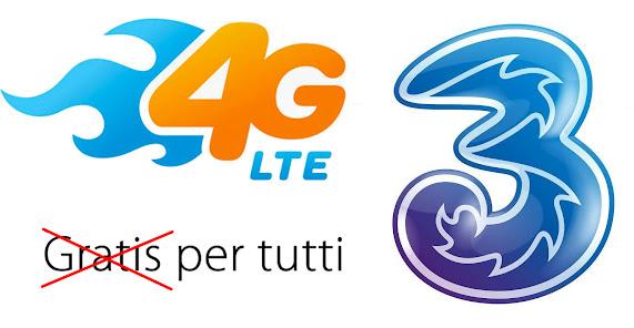 3 Italia: 4G LTE diventa a pagamento per tutti, 1 euro al mese