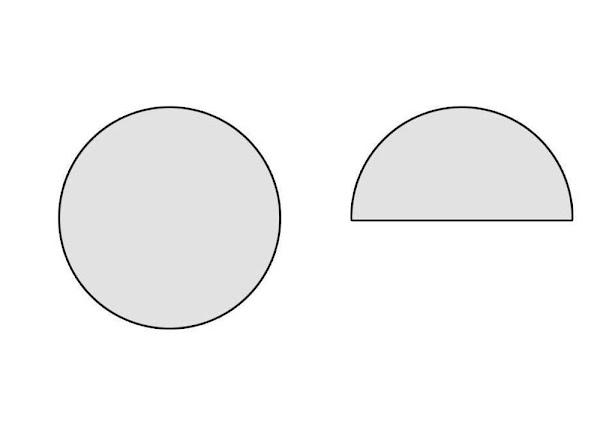 Fold it in half, to make a semi circle.