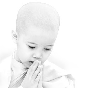 Devotion by Mary Lane Anderson - Babies & Children Child Portraits ( high key, myanmar, nun, chilc, pray, yangon, burma, portrait )