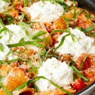 Skillet Lasagna Topped with Ricotta.