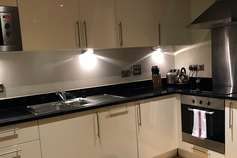 Fully equipped kitchen at Canary Wharf Executive Apartment