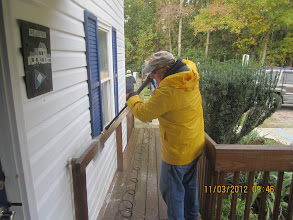 Photo: Jake suited up for pressure washing.