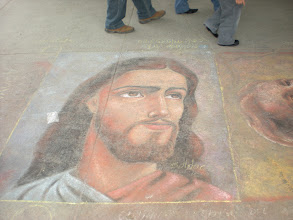 Photo: Chalk drawing on the sidewalk that bears a certain resemblance to someone we all know.