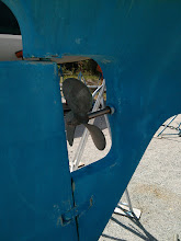 Photo: Prop & shaft as purchased - why is prop positioned so  close to the rudder?  Where is the zinc?