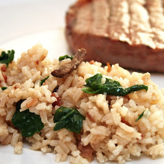 Oven Baked Bacon,Mushroom and Spinach Risotto