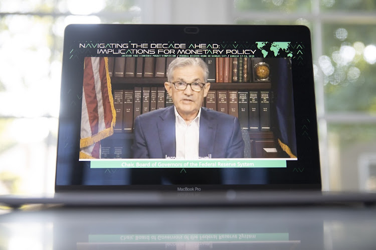 US Federal Reserve chair Jerome Powell, speaks remotely during the Jackson Hole economic symposium, August 27 2020. Picture: DANIEL ACKER/BLOOMBERG.