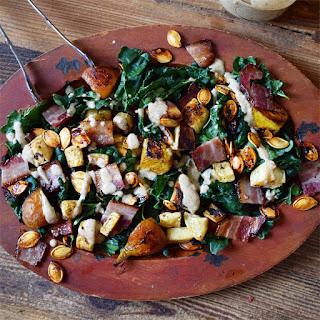 Warm Kale Bacon Salad with Apple Pecan Vinaigrette