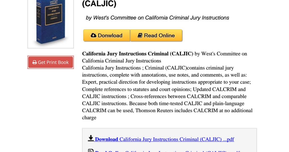 California Jury Instructions Criminal Caljic 0314808698pdf Google