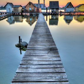 Bokod by Péter Mocsonoky - Landscapes Waterscapes ( calm, hungary, wooden, sunset, pier, lake, tranquility, evening, bokod, watter,  )