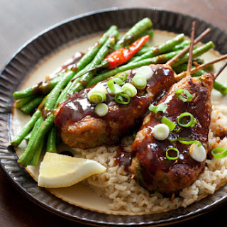 Chicken Yakitori with Long Beans & Brown Rice Recipe
