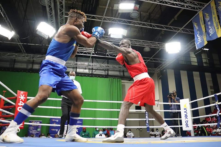 Kenya's Nick Okoth in action at the Africa Zone 3 Boxing Championship in Kinshasa DRC.
