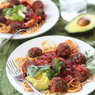 Spicy Southwestern Spaghetti with Avocado & Black Bean Meatballs.