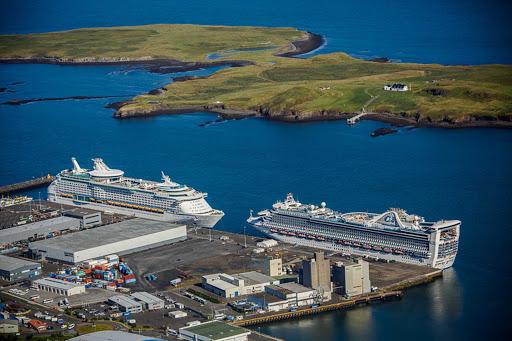 Iceland-Reykjavik-Videy-Island.jpg - Cruise ships in port in Reykjavik, Iceland, with Videy Island in the background.