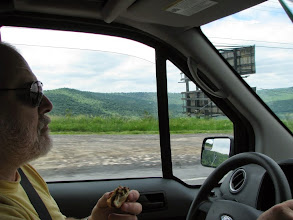Photo: Terry W8ZN at wheel of K8GP / Rover in FN00 ARRL June VHF 2014