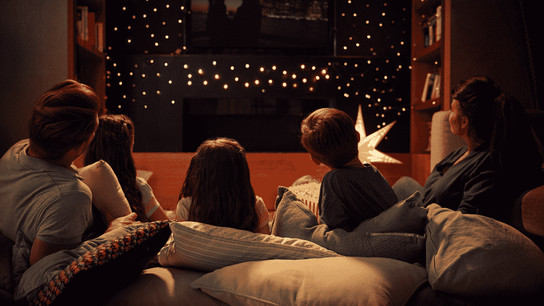 family Halloween activities for 2020 - movie night in the big bed