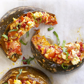 Baked Squash with Basil and Feta