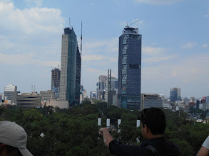 Photo: Skyscrapers rise along Reforma Avenue. Picture taken from National History Museum, Chapultepec Castle.