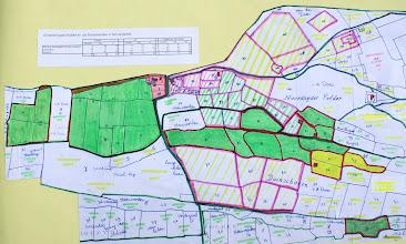 Photo: Bron: Jan Duivenvoorden te Noordwijkerhout  Onroerend goed Huibert en Job Duivenvoorden in het Langeveld. Eigendomssituatie van 1861.  Met als belangrijke bronnen de kadastertekeningen (1818-1832) en het erfenisverdelingsdocument uit 1861 waarin de nauwkeurige perceels- vermelding van de gronden van Job Duivenvoorden (artikel 1 t/m 7 bij het onroerend goed) en van Huibert Duivenvoorden (artikel 8 t/m 13).  Het land dat door Job Duivenvoorden zelf is aangekocht is geheel ingekleurd en rood omrand; het land dat eerder bezit was van Huibert Duivenvoorden is met schuine strepen gearceerd en roze omrand. Verder geven de kleuren aan: Groen = weiland Geel = geestgrond Lichtbruin = akker, erf, moestuin etc Met rood zijn de woningen ingekleurd.